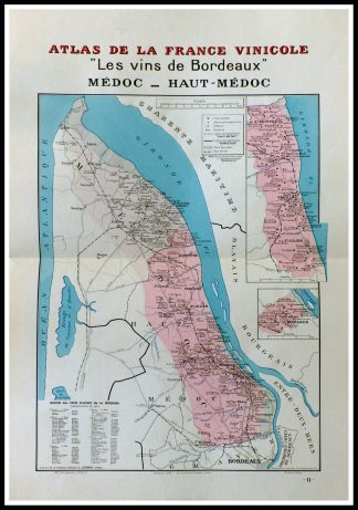 """(alt=""""original french wine maps Vins de Bordeaux Médoc and Haut Médoc Louis LARMAT 1942"""")"""