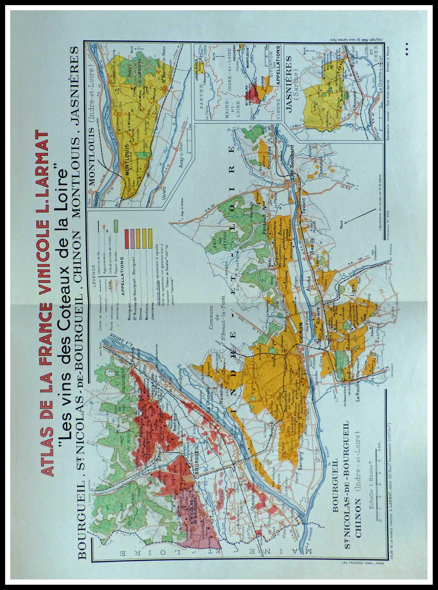 Carte originale des vins - Atlas vinicole de France - Les vins des coteaux de la Loire ...