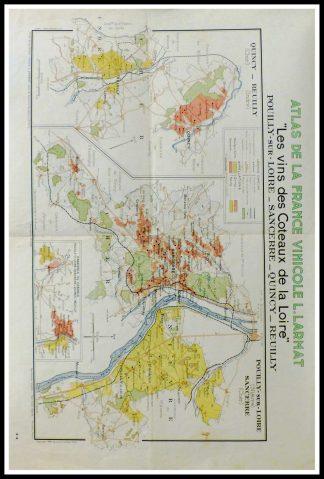 """(alt=""""original vintage french wine maps, atlas of france wine, wine coteaux de la loire, Sancerre, Quincy, Reuilly Louis LARMAT 19423°"""
