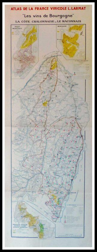 """(alt=""""Original vintage French wine maps Burgundy wine La Côte Châlonnaise Le Mâconnais, Atlas de France Vinicole 1942 Louis LARMAT 100 x 44 cm"""")"""