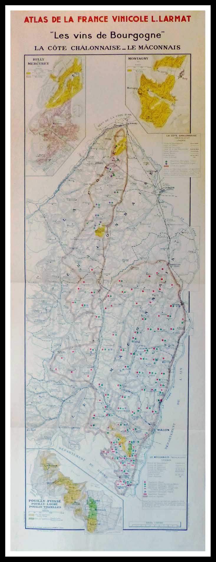 Carte originale des vins Atlas vinicole de France - Les vins de Bourgogne, la côte châlonnaise ...