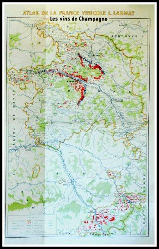 """(alt=""""Original vintage French wine maps Les Vins de Champagne, Atlas de la France Vinicole Louis LARMAT 1942"""")"""