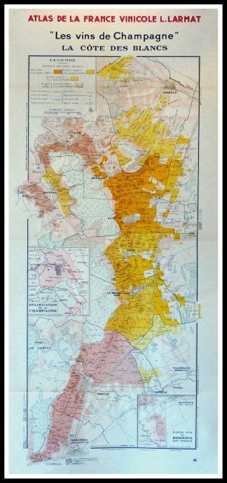 """(alt=""""Original vintage French wine maps Les Vins de Champagne La Côte des Blancs, Atlas de la France vinicole Louis LARMAT 1942 """")"""