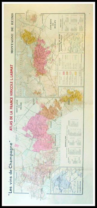 """(alt=""""Original vintage French wine maps Les Vins de Champagne Montagne de Reims, Eperon de bouzy, Atals de la France vinicole Louis LARMAT 1942"""")"""