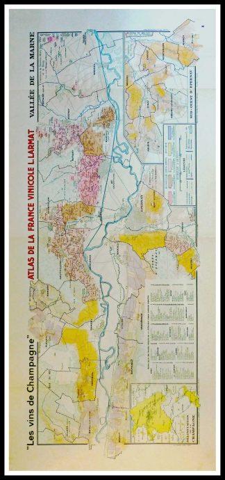 """(alt=""""Original vintage French wine maps Les Vins de Champagne Vallée de la Marne, Atlas de France Vinicole 1942 Louis LARMAT"""")"""