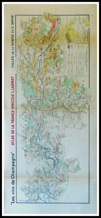 """(alt=""""Original vintage French wine maps Les Vins de Champagne Vallée de la Marne et l Aisne, Atlas de la France vinicole Louis LARMAT 1942"""")"""