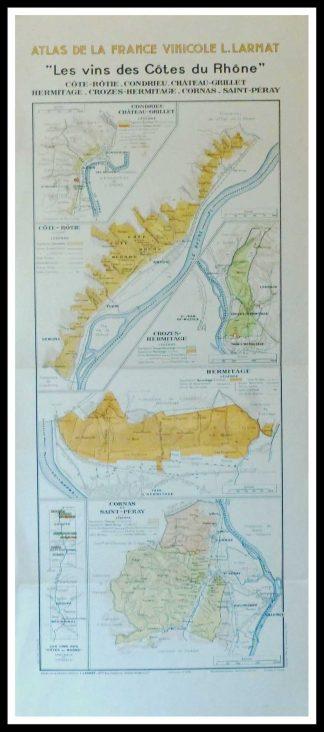 """(alt=""""Original vintage French wine maps Les Vins des Côtes du Rhône Côte Rôtie Condrieu Atlas de la France Vinicole 1942 Louis LARMAT """")"""