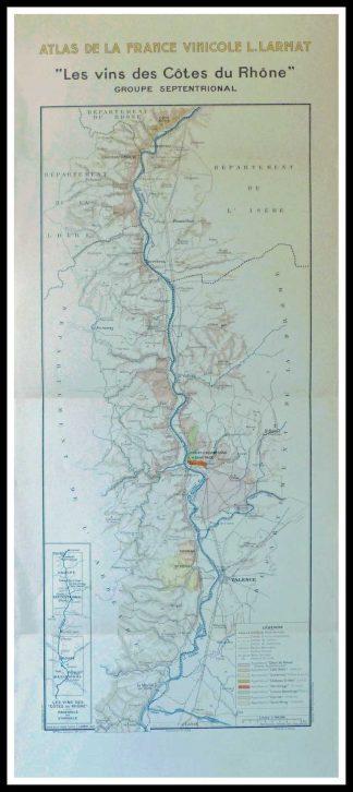 """(alt=""""Original vintage French wine maps Les Vins des Côtes du Rhône Groupe septentrional Atlas de la France Vinicole Louis LARMAT 1942 """")"""