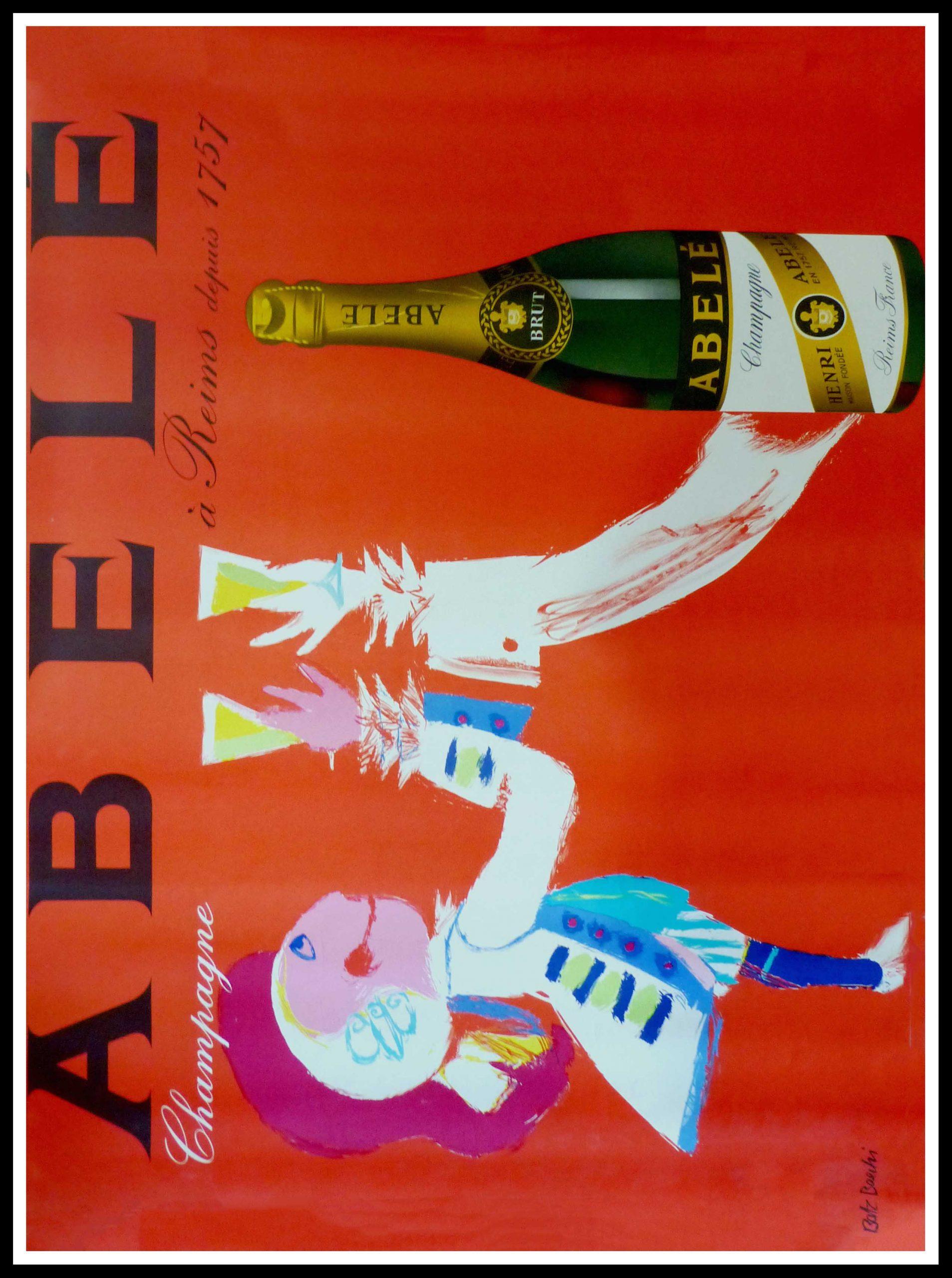"(alt=""original vintage poster alcohol, Abele CHAMPAGNE, Batz BAECHI circa 1950"")"