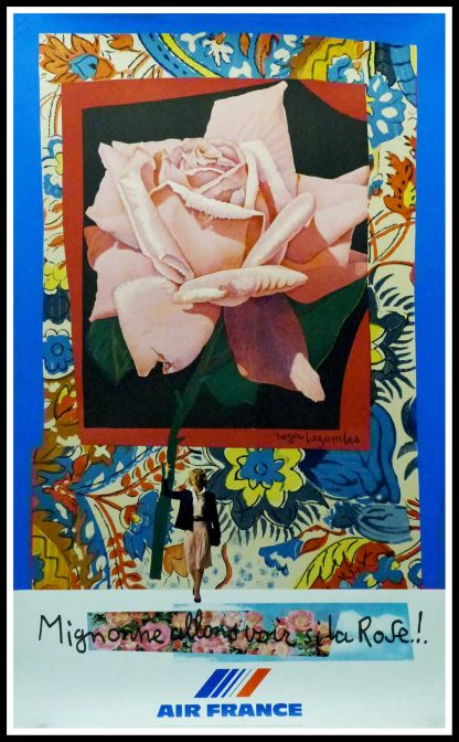 """(alt=""""original vintage travel poster AIR FRANCE Migonne allons voir si la rose.... Roger BEZOMBES 1980 signed in the plate printed by Mourlot"""")"""