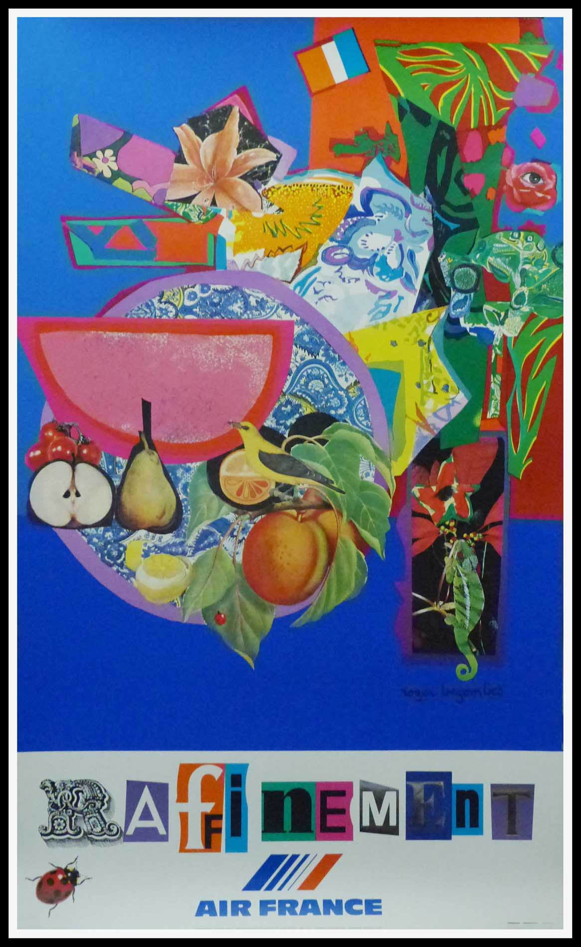 """(alt=""""original vintage travel poster AIR FRANCE Raffinement by Roger BEZOMBES signed in the plate and printed by MOURLOT"""")"""