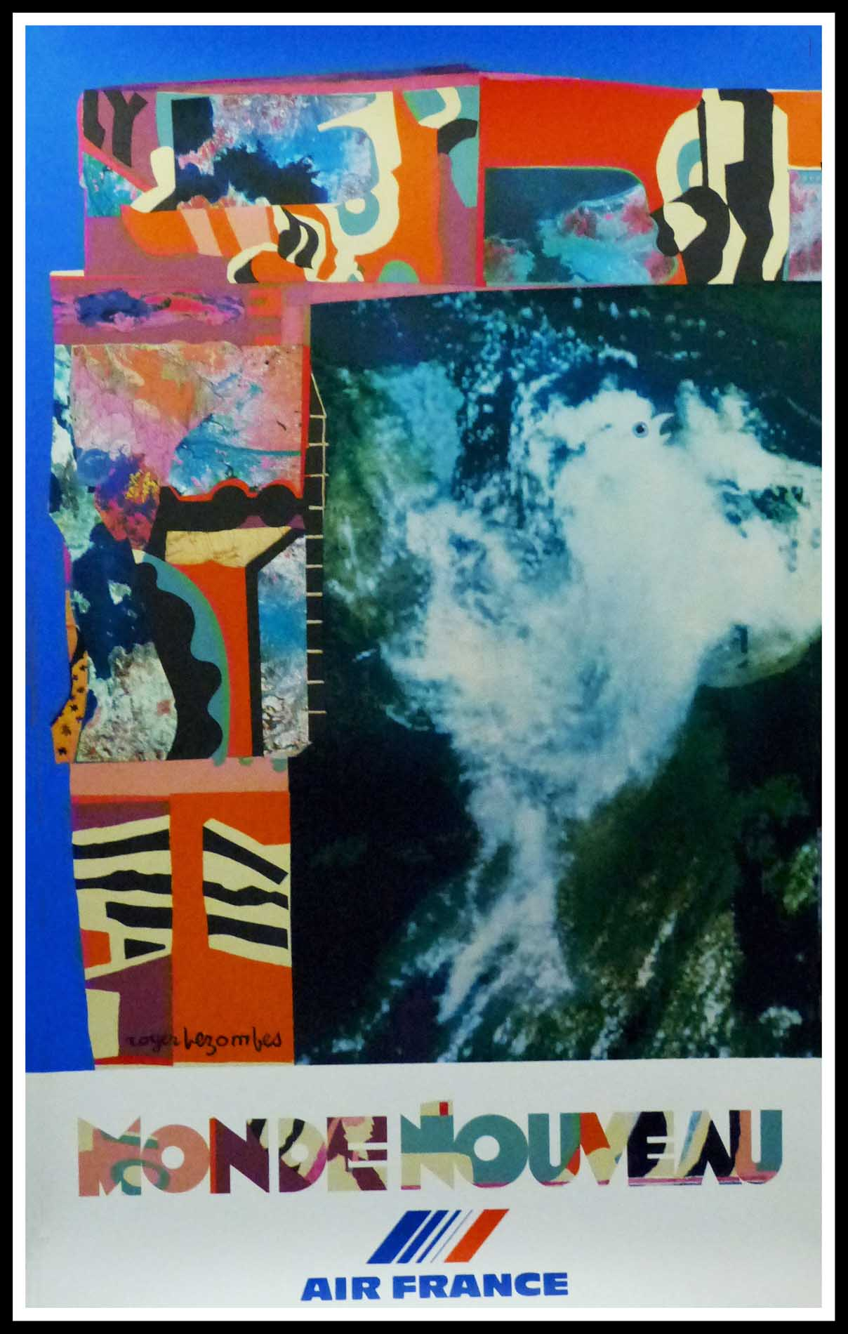 """(alt=""""original vintage travel poster AIR FRANCE by Roger BEZOMBES 1980 signed in the plate and printed by MOURLOT"""")"""