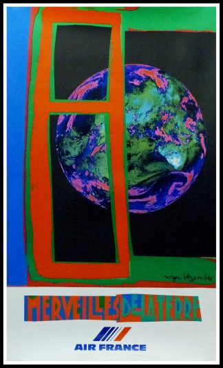 "(alt=""original vintage travel poster Air France Merveille de la Terre Roger Bezombes 1980 signed in the plate printed by Mourlot"")"