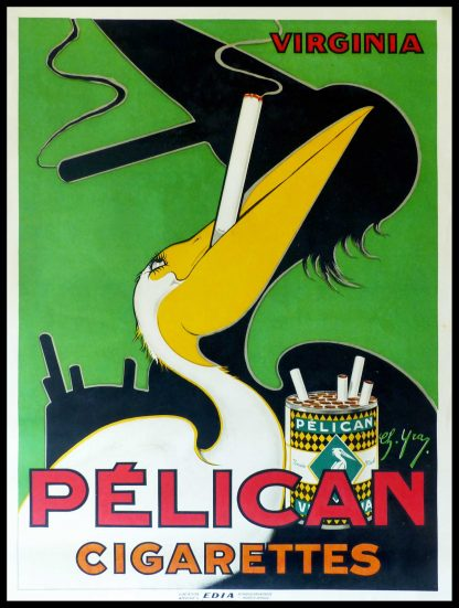 """(alt=""""original vintage advertising poster virginia cigarettes PELICAN signed in the plate Charles YRAY art deco circa 1930"""")"""