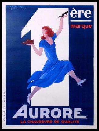 """(alt=""""Affiche publicitaire originale Aurore, la chaussure de qualité, circa 1930 signée dans la planche par Leonetto CAPPIELLO et imprimée par Devambez"""")"""