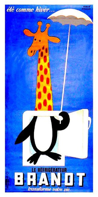 """(alt=""""Affiche originale publicitaire BRANDT Été comme hiver le réfrigérateur Brandt transforme votre vie 1955 signée dans la planche par Hervé MORVAN et imprimée par Ets de la Vasselais"""