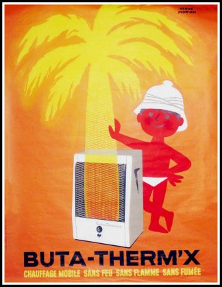 "(alt=""Original advertising poster Buta Therm'x circa 1950 signed in the plate by Hervé MORVAN and printed by Publi Action"")"