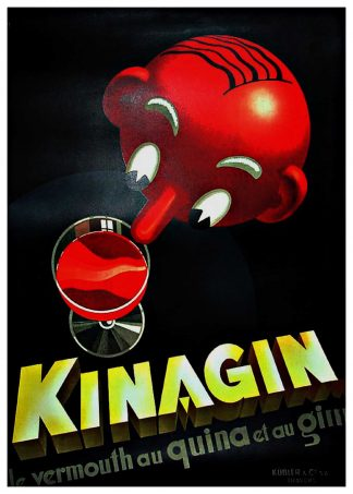 """(alt=""""Original advertising poster Kinagin le vermouth au quinoa et au gin circa 1930 signed in the plate by E.PATKEVITCH and printed by A.Marsens"""")"""