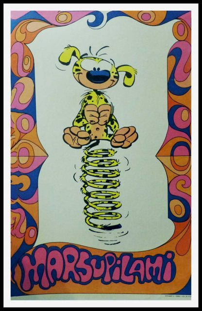 """(alt=""""Original vintage poster of the Marsupilami based on André Franquin, 1968 , created by André Franquin and printed by Sup. Spirou"""")"""