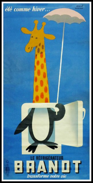 "(alt=""original vintage advertising poster, Hervé MORVAN, Brand la girafe, signed in the plate 1955"")"