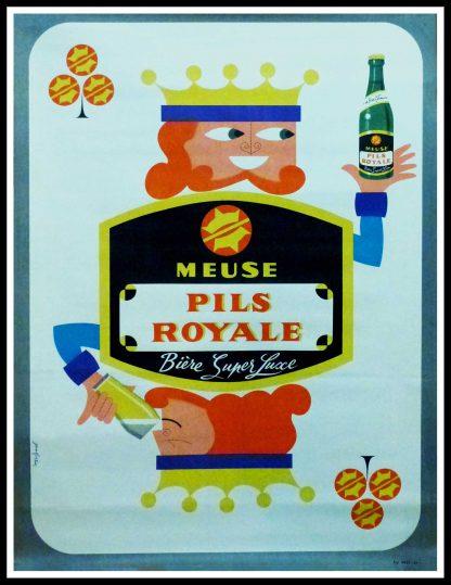 """(alt=""""Affiche publicitaire originale de bière, Bière Pils Royale circa 1950, signée dans la planche par Jean FORTIN et imprimée par HESS"""")"""