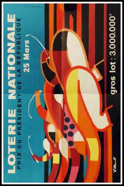 """(alt=""""Original vintage poster Loterie Nationale, Prix du Président de la République, 1972 realised by Villemot and printed by Jean Laurance, Paris."""")"""