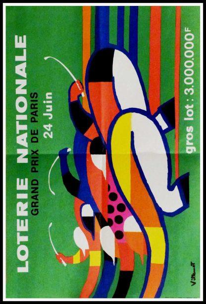 """(alt=""""Original vintage poster Loterie Nationale, Grand Prix de Paris, 1960 realised by Villemot and printed by Jean Laurance, Paris."""")"""