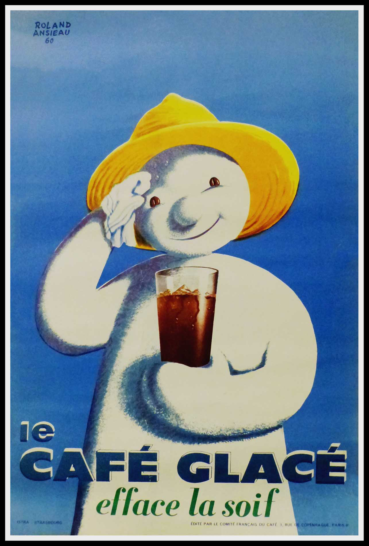 "(alt=""Original vintage poster Le Café Efface La Soif 1960, signed in the plate by Roland Ansieu and printed by Istra, Strasbourg"")"