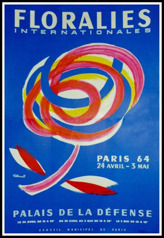 "(alt=""Original vintage poster Floralies Internationale, Paris la Défense, 1964 realised by Villemot and printed by Chabrillac"")"