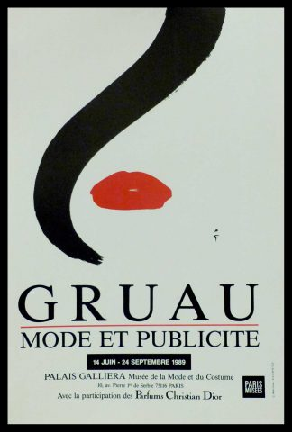 "(alt=""original vintage poster Gruau Mode & Publicité 1989, signed in the plate by R. Gruau and printed by Paris musées"")"