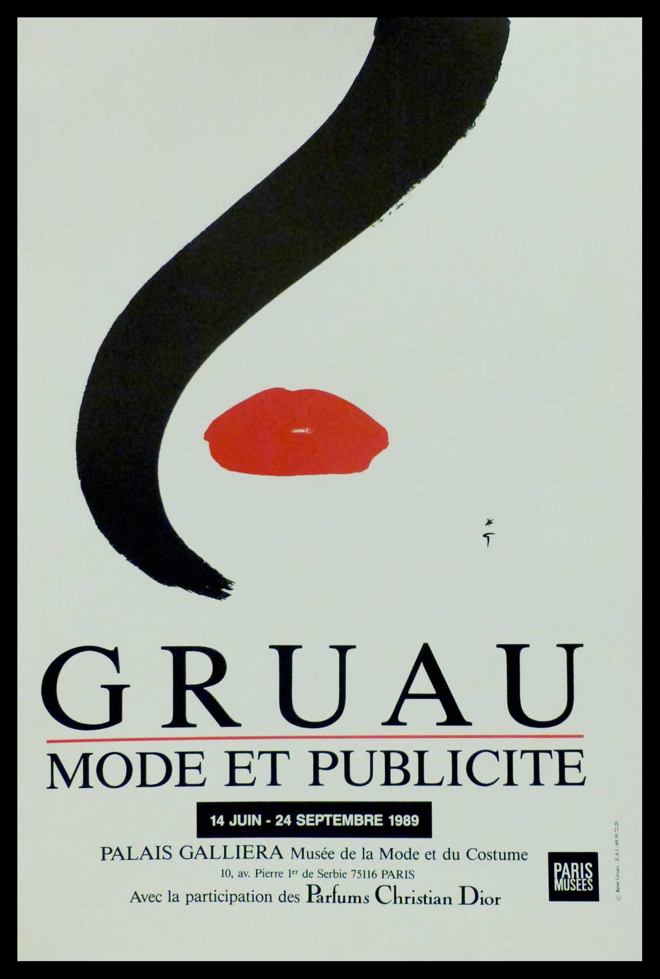 """(alt=""""original vintage poster Gruau Mode & Publicité 1989, signed in the plate by R. Gruau and printed by Paris musées"""")"""
