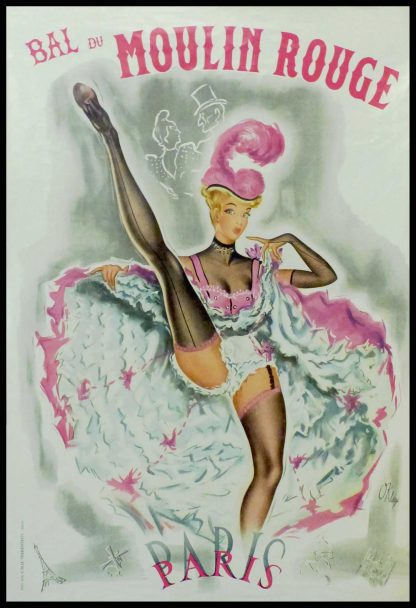 """(alt=""""Original vintage poster Moulin Rouge 1955, signed in the plate by Okley and printed by CMM TERRENTROY"""")"""
