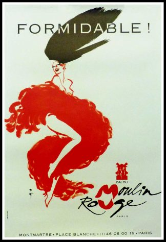 "(alt=""Original vintage poster Formidable ! Bal Du Moulin Rouge circa 1970, designed by R.Gruau and printed by Ploom Colas & Associes"")"