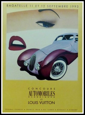 "(alt=""Original vintage poster Classic Car Contest with Louis Vuitton, 1993 realised by Razzia and printed by Cyclindes, Pantin"")"