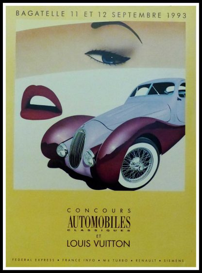 """(alt=""""Original vintage poster Classic Car Contest with Louis Vuitton, 1993 realised by Razzia and printed by Cyclindes, Pantin"""")"""