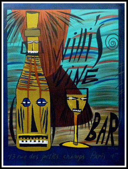 """(alt=""""Original vintage poster Willi's Wine Bar, 1980 signed in the plate by François Voisin and printed by Editions W"""")"""