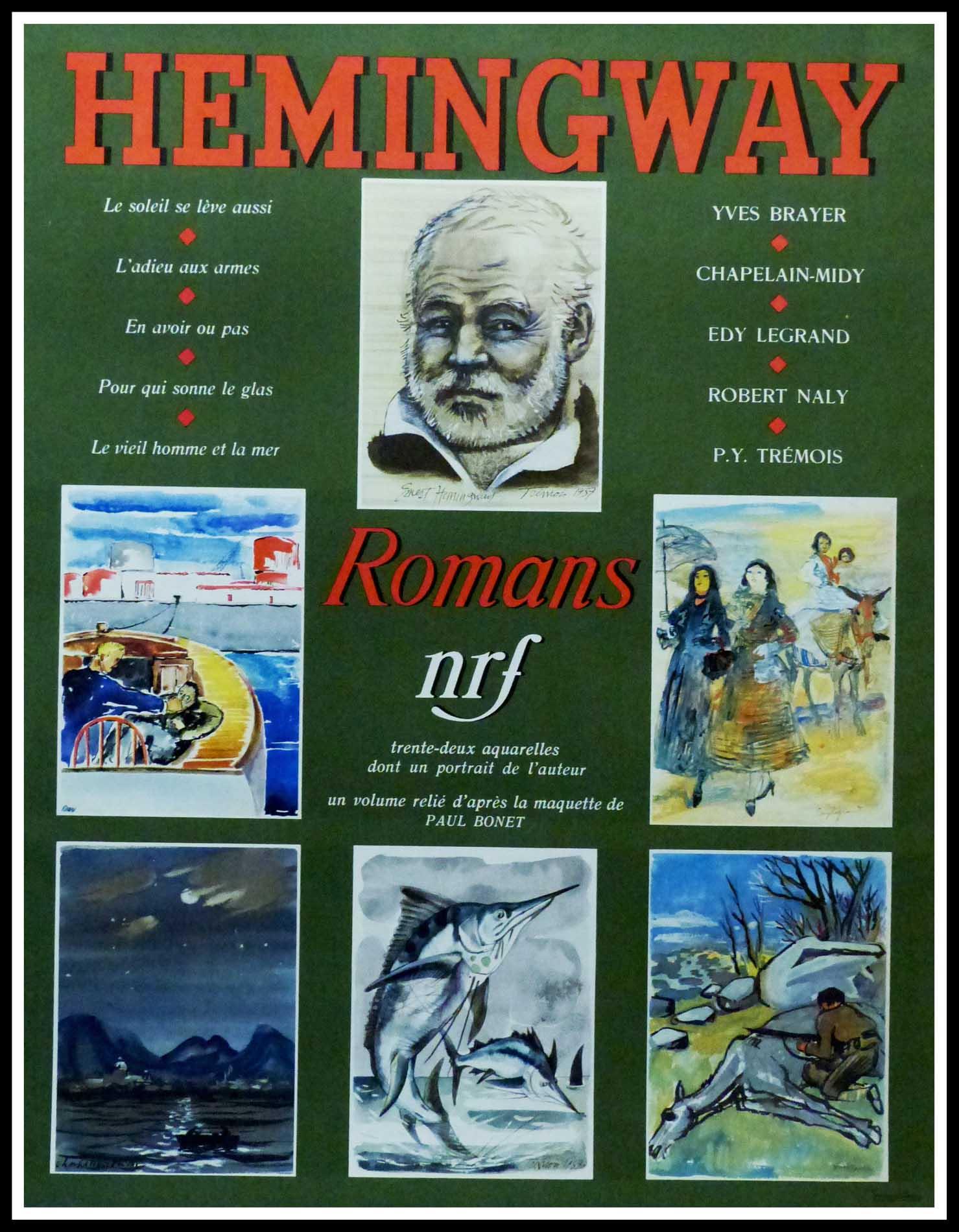 """(alt=""""Original vintage poster Ernest Hemingway, realised and printed by NRF (La Nouvelle Revue française) and Gallimard"""")"""