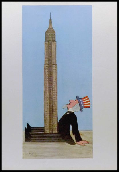 """(alt=""""Original vintage poster of uncle Sam and the Empire State Building signed in the plate by R.Savignac and printed by Delpire, Paris"""")"""