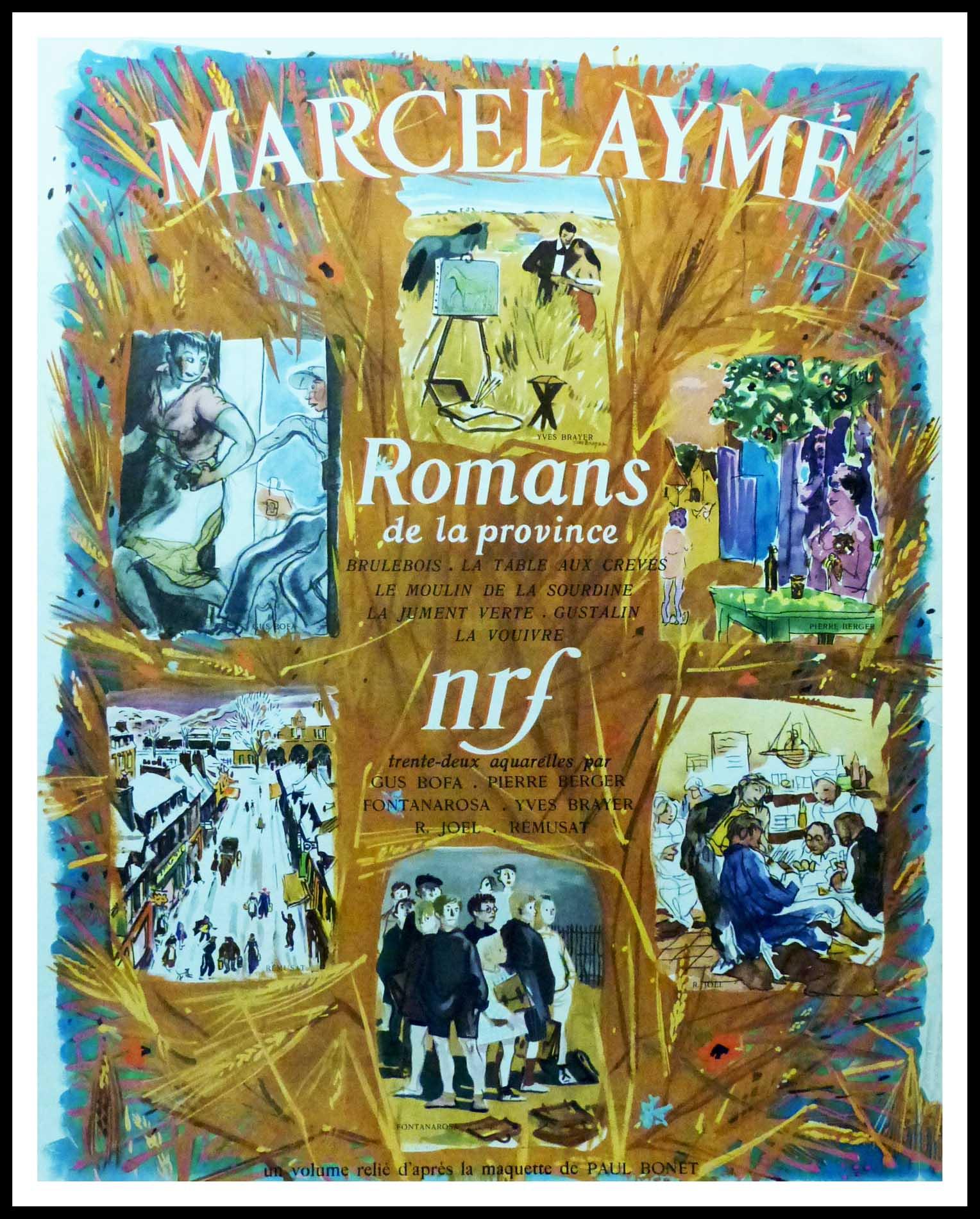 """(alt=""""Original vintage poster Marcel Aymé - Romans de la province, realised and printed by NRF (La Nouvelle Revue française) and Gallimard"""")"""