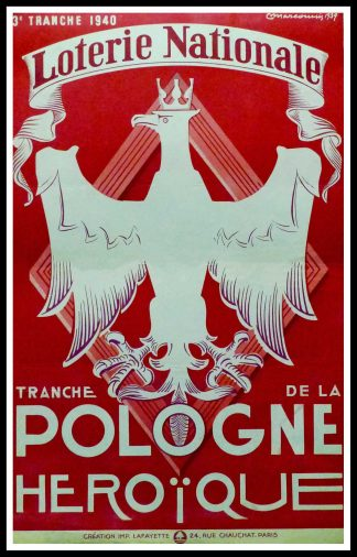 "(alt=""Original vintage poster Loterie Nationale Pologne Héroïque, 1940 realised by Marcoussis and printed by Lafayette, Paris"")"