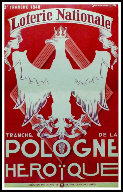 """(alt=""""Original vintage poster Loterie Nationale Pologne Héroïque, 1940 realised by Marcoussis and printed by Lafayette, Paris"""")"""