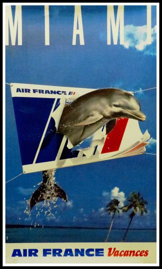 "(alt="" Original vintage travel poster Miami Air France Voyage printed by saint martin Asnières Circa 1980"")"