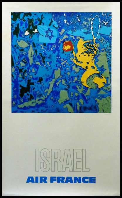 "(alt=""original vintage travel posterAIR FRANCE ISRAEL by raymond PAGES signed in the plate, printed by CHAIX 1980"")"