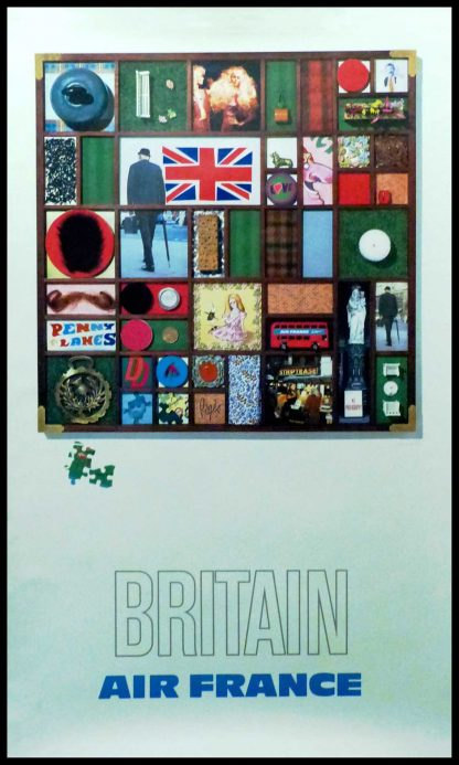 """(alt=""""original vintage travel poster Air France BRITAIN circa 1970, signed in the plate by Roger PAGES printed by Debar Reims """")"""