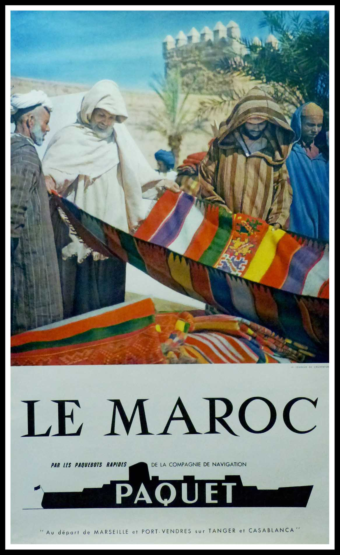 "(alt="" Original vintage travel poster Cie Maritime PAQUET - Morocco circa 1960, realised by Bertrand (photo) and printed by Société Marseillaise de Pub"")"