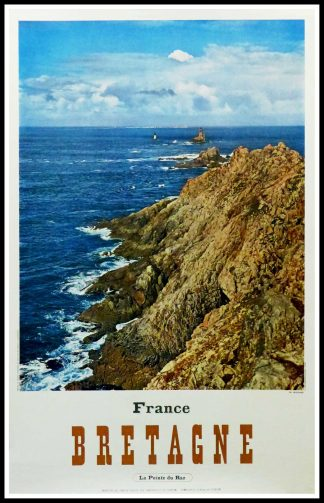 "(alt=""Original vintage travel poster BRITTANY - la pointe du Raz - realised by Molinard and printed by E. Defosséscirca 1960"
