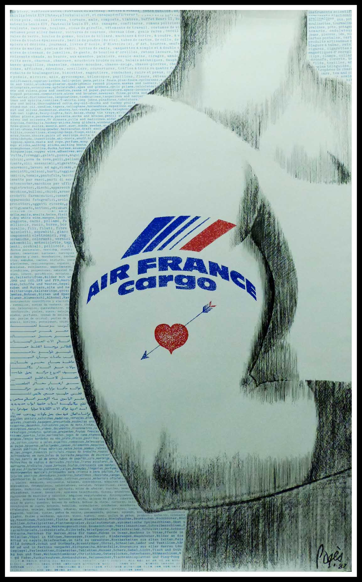 """(alt=""""Original vintage travel poster AIR FRANCE CARGO signed in the plate by PAGES and printed by Air France circa 1970"""")"""