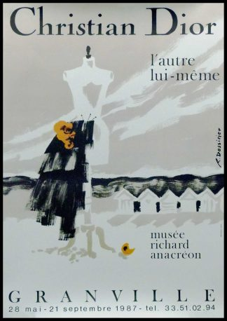 "(alt=""Original vintage exhibition poster Christian Dior, Granville circa 1987 signed in the plate by Dessirier and printed by Mediagraphique Rennes"")"