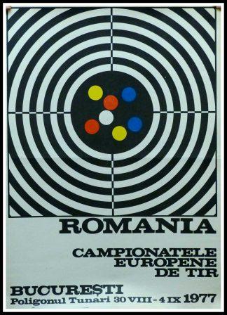 "(alt=""Original vintage poster - Campionatele Europene De Tir Bucarrest - 1977"")"