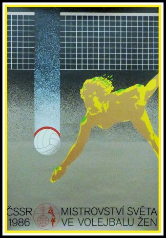 "(alt=""Original vintage sport posterVolleyball Women's World Championship in Czech republic,1986 , created by Miroslav Střelec and printed by PK"")"